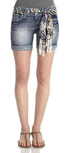 WallFlower Juniors Tie Belted Curvy Mid Thigh Denim Shorts in Molly Size: 5