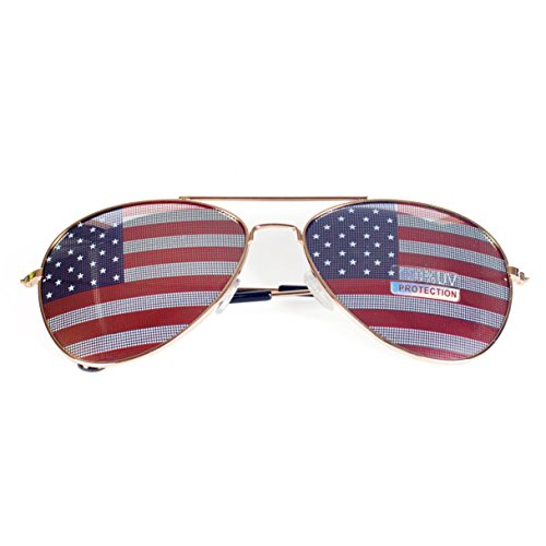 Goson American Flag Mirror Aviator Novelty Decorative Sunglasses (Gold) from Goson