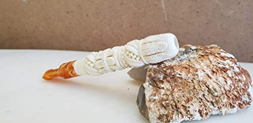 Special Edition Handmade Cigarette Holder in Meerschaum -Portable Short Smokeless Smoking Pipe-Personalized -3.9 inches Mouthpiece (White)