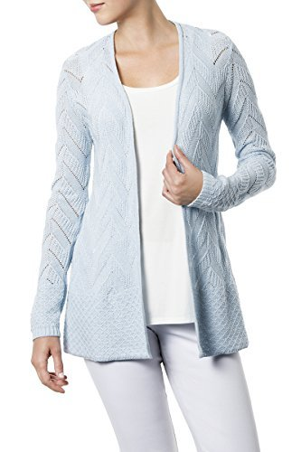 89th & Madison Long Sleeve Open Cardigan With Mitered Rib&Mini Dot Trim by 89th & Madison
