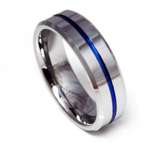 Panvisionary Men's Thin Blue Line Tungsten Carbide Ring Blue Ip 8mm Flat Profile With Beveled Edges 10.5