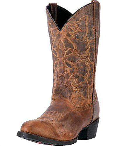Laredo Men's 12'' Birchwood Western Embroidered Round Toe Cowboy Boots, Tan Leather, 11 D - Tan Cowboy Round Boots