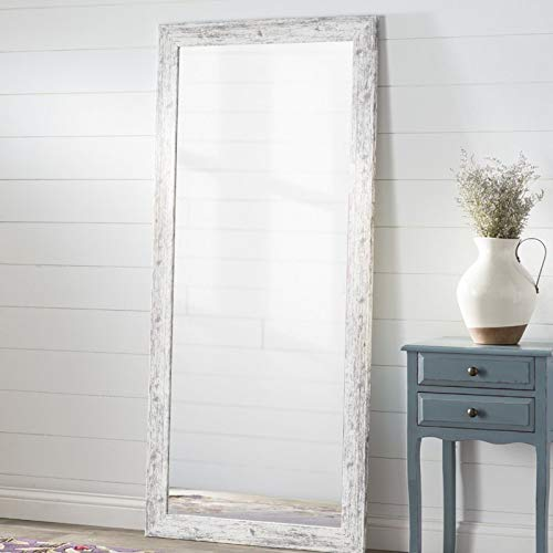Full Length Mirror - White Weathered Handcrafted Farmhouse Wall Mirror - Vertical or Horizontal Home Decor - Can be use for Bedroom, Bathroom, Living Room or Entryway