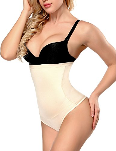 OANANT Women's Shaper,high Waist Tummy Control Butt Lift Thong Panties Shapewear Bodysuits for Women (Flesh Color, Large)