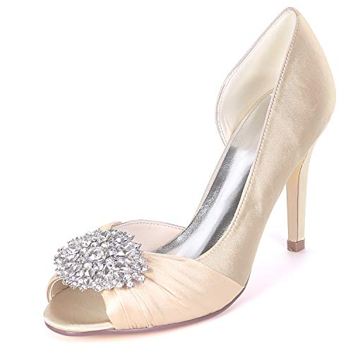 Satin High Wedding Rhinestones Women Champagne Peep Shoes Satin L YC Platform Heels Toe 9cm Low Sparkling xE0OqSwwYn