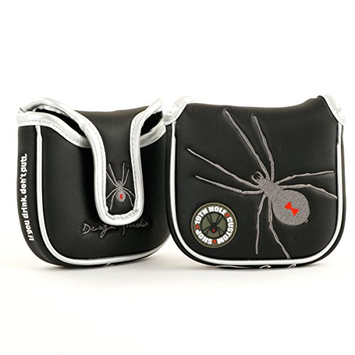 - 19th Hole Custom Shop Spider High-MOI Mallet Putter Headcover, Heel Shaft, Black, Golf Head Cover