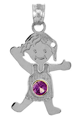 Argent Baby-Charme et Pendentif Collier - Oxyde de Zirconium Amethyste Fille Pierre de Naissance-Pendentif Collier (Livre Avec un 45 cm Chaine)