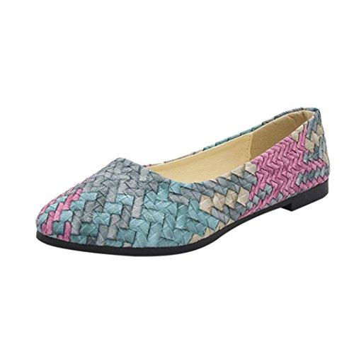 Cooljun Frauen Mädchen Frühling Mischfarben Freizeitschuhe Weibliche Hübsche Flache Schuhe Green