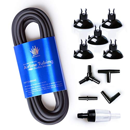 WOW Design 3/16-Inch Professional Flexible Silicone Airline Tubing Standard Aquarium Air Pump Accessories with Check Valves, Suction Cups and Connectors, 20 Feet (Clear-Black)