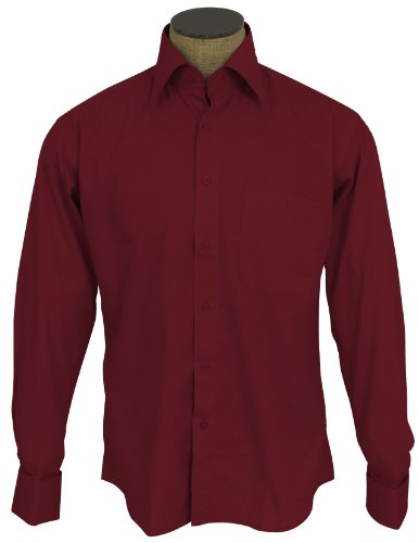 Sunrise Outlet Men's Cotton Blend French Cuff Dress Shirts - Crimson 17 (Cotton French Cuff Dress Shirt)