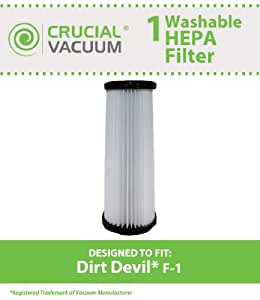 Dirt Devil F-1 Washable HEPA Filter; Fits Dirt Devil F-1; Part # 2-JC0280-000; Designed & Engineered by Crucial Vacuum