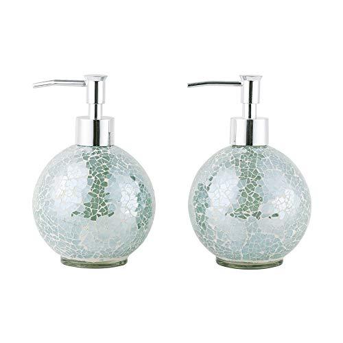 Glass Mosaic Hand Soap Dispenser-Lotion Bottle with Chrome Plated Plastic Pump-14 Ounce Set of 2 (Aqua)