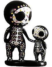 Prettyia Sugar Skull Couple Rose Figurine - Collectible Resin Skull Couple Decorative Figurine Statue Decoration Housewarming Gift