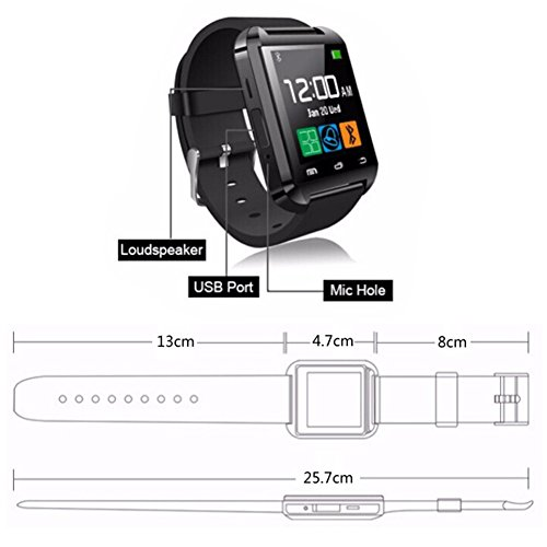 DOESIT Touch Screen Smartwatch U8 Bluetooth Smart Watch for Samsung Galaxy HTC Nexus Sony LG Huawei Android Smartphones by DOESIT (Image #1)
