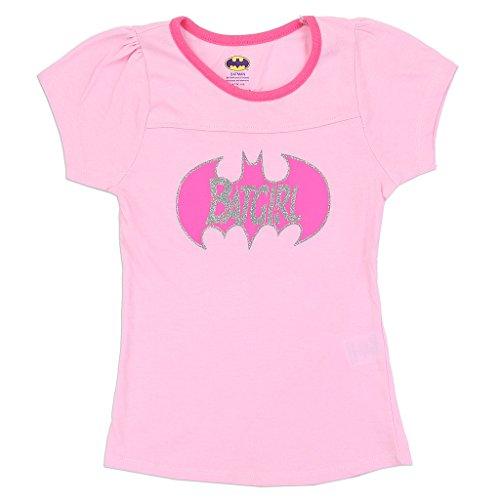 Batgirl DC Comics Little Girls Glitter Logo Tee, Pink (2T) ()