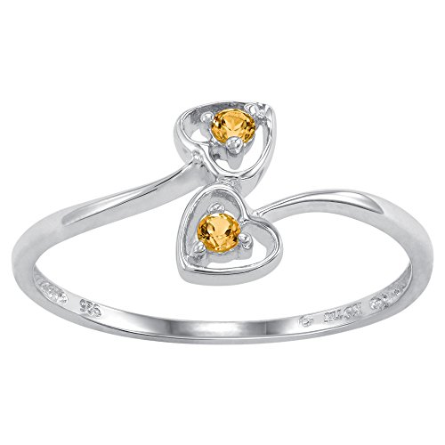 ArtCarved Dainty Heart Simulated Citrine November Birthstone Ring, Sterling Silver, Size (Artcarved Yellow Ring)