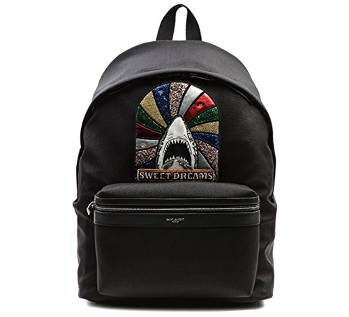 Wiberlux Saint Laurent Unisex Glittered Shark Patch Backpack One Size Black