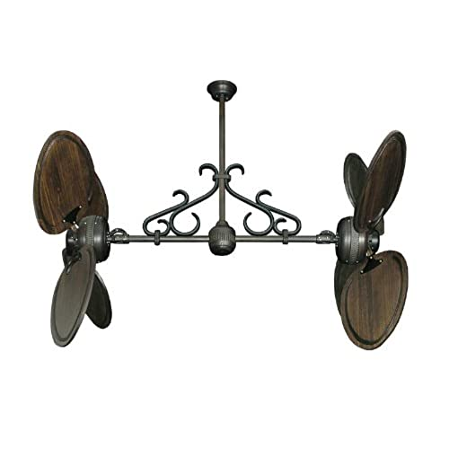 Double ceiling fans amazon twin star ii dual ceiling fan in oil rubbed bronze with 50 arbor blades in dark walnut finish scroll includes wall control aloadofball Images