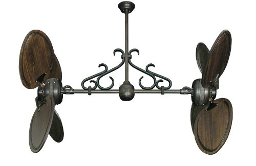 Twin Star II Dual Ceiling Fan in Oil Rubbed Bronze with 50″ Arbor Blades in Dark Walnut Finish & Scroll, Includes Wall Control
