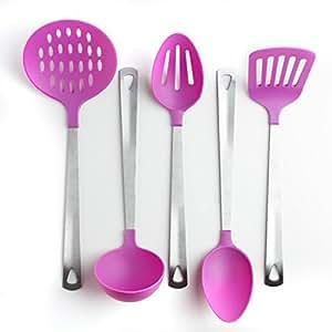 5-Piece Kitchen Utensil Set - Stainless Steel & Nylon(Stainless Purple)