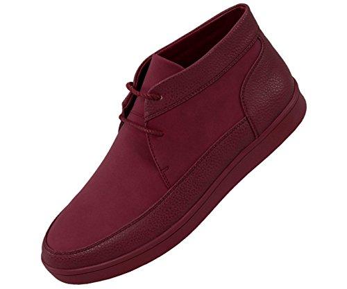 Sio Kiezel Korrel & Faux Suede Moc Teen Hoge Top Casual Sneaker Stijl Tyson Bordeaux