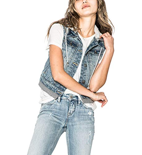 Silver Jeans Co. Saylor Chaleco de Mezclilla con Capucha para Mujer, Índigo, L
