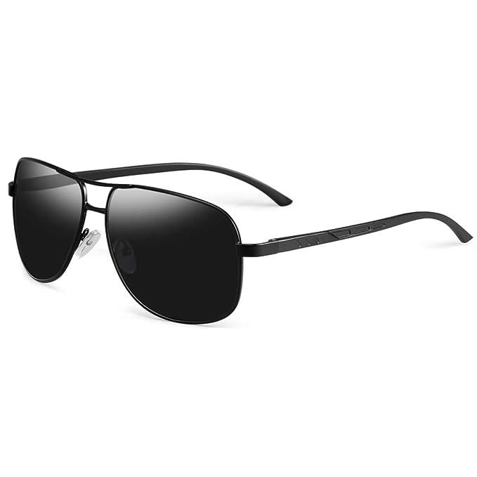 3637447867e WELUK Classic Aviator Sunglasses Men Women Metal Driving Pilot Fishing  Glasses (01Black