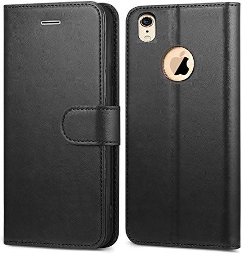 covernew vintage leather with logo cut Flip Cover for apple iphone xr/iphone 10r   venom black