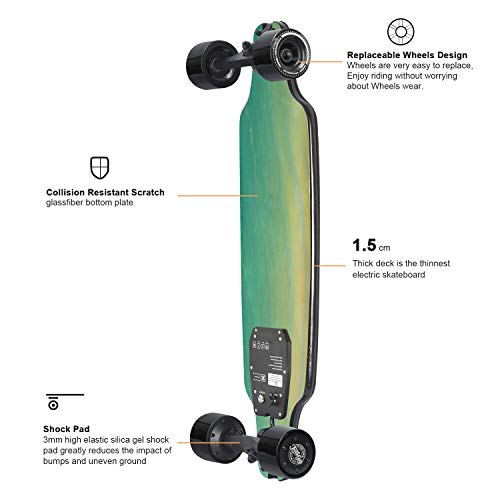 teamgee H8 31'' Electric Skateboard, 15 MPH Top Speed, 480W Motor, 8 Miles Range, 11.6 Lbs, 10 Layers Maple Longboard with Wireless Remote Control by Teamgee (Image #2)