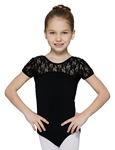"""MdnMd Leotard for Girls with Bow Tie Back (Black, Age 6-8,Height 49-52"""")"""