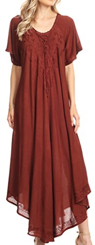 Sakkas 1701 - Lilia Embroidered Lace Up Bodice Relaxed Fit Maxi Sun Dress - Brown - OS - Womens Lounge Dress