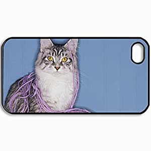 Customized Cellphone Case Back Cover For iPhone 4 4S, Protective Hardshell Case Personalized Cat Skin Face Eyes Playful Fluffy Black