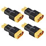 HRB 4pcs Male XT60 XT-60 to Female XT30 XT-30 Plug Adaptor Converter Compact Light Wireless Adapter for Turnigy Drone FPV