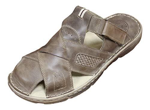 Lukpol Mens Orthopedic Form Buffalo Leather Sandals Model-868 Beige