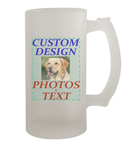 Custom Printed 16oz Frosted Glass Beer Stein Mug Cup CP06 - Add Your Image Photograph Text or Design - Graphic Mug - Fast Shipping