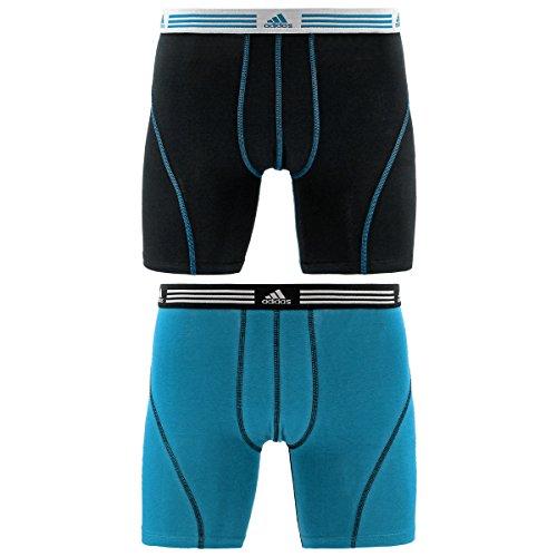 adidas Men's Athletic Stretch Cotton Boxer Brief Underwear , Black/Core Blue, X-Large