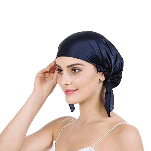 Savena 100% Mulberry Silk Night Sleeping Cap for Long Hair Bonnet Hat Smooth Soft Many Colors, Hair Care Ebook Included (Navy ()