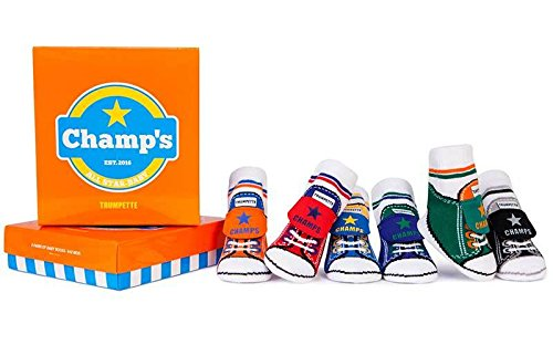 (Trumpette Baby Boys Sock Set-6 Pairs, Champ's - Assorted Colors, 0-12 Months)