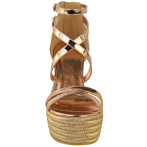 N Zapatos Mujer Oro Alpargatas Thirsty Plataforma Verano Tiras Sandalias Rosa Fashion TBq6vx