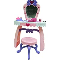 Dimple Dream Dresser Toy Vanity Set with Flashing Lights, Music & Assorted Accessories, Pink/White by DimpleChild