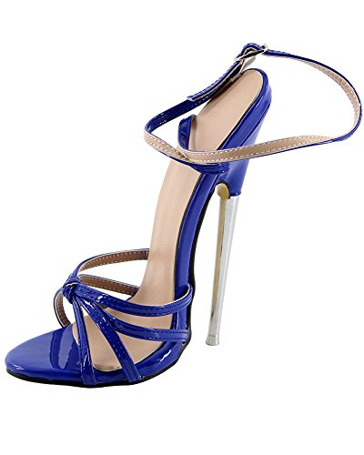 WONDERHEEL Stilleto Metal Heel Ankle Strap Blau Patent Fetish Women Sandalen