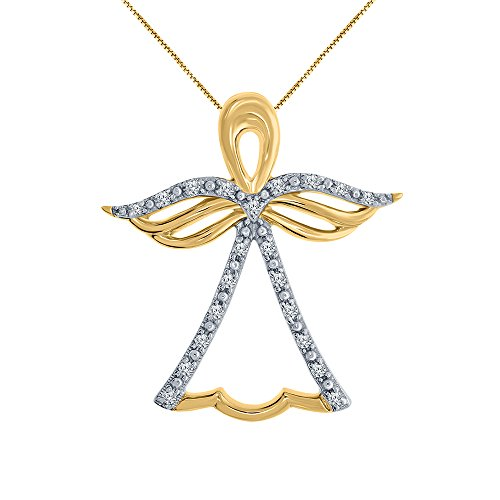 1/10ct Round White Natural Diamond 10K Yellow Gold Angel Pendant Necklace for Womens Teens