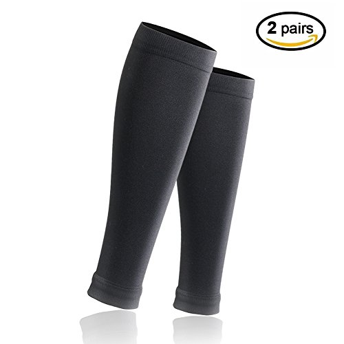 Calf Compression Sleeve Men and Women - Leg Compression Socks for Shin Splint, Leg Cramps & Calves Recovery - Best Calf Guard for Running, Jogging, Cycling, Fitness & Exercise (Black, 2 Pairs S/M)