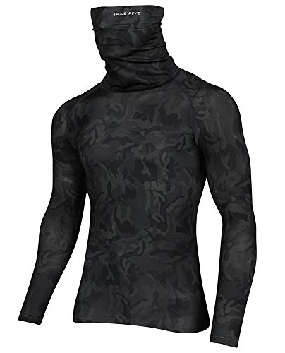 Take Five Men's Turtleneck Compression Top Cool Dry Sports Long Sleeve T-Shirt
