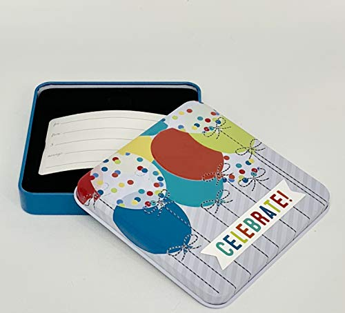 Gift Card Holder, Pack of 3 (Tin Box - Celebrate with Balloons), Great for Birthday or Celebrations