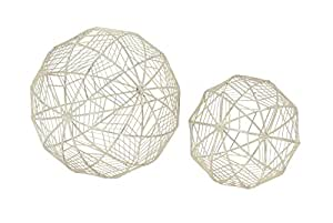"Deco 79 54718 Metal Wire Orb Figurine (Set of 2), 6""/8""D"