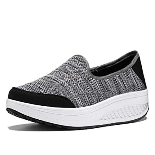 Women's Platform Athletic Sneakers Comfortable Slip On Fitness Walking Casual Sport Tennis Shoes Grey