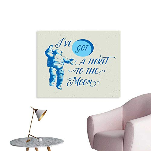 J Chief Sky Astronaut Wall Picture Decoration Ive Got a Ticket to The Moon Astronaut Galaxy Celestial Journey into Space Wall Stickers for Kids Room W24 xL16