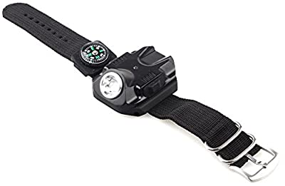 COCOTINA Sports 3 in 1 Flashlight LED Watch Date Display Canvas Band Compass Function Rechargeable with USB Charging Cable for Outdoor Camping Hiking Hunting Cycling