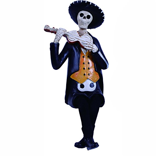 One Holiday Way Day of The Dead Skeleton Shelf Sitter Figurine with Instrument - Dia de Los Muertos Decoration for Halloween (Orange)